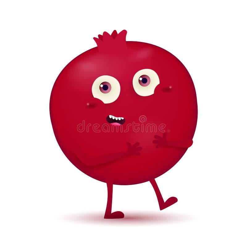 Piccolo carattere rosso scuro sveglio della frutta del melograno illustrazione di stock