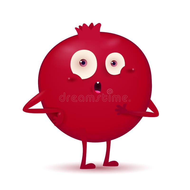 Piccolo carattere rosso scuro sveglio della frutta del melograno royalty illustrazione gratis