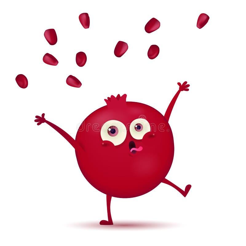 Piccolo carattere rosso scuro sveglio della frutta del melograno con l'espressione divertente isolato su un fondo bianco illustrazione di stock