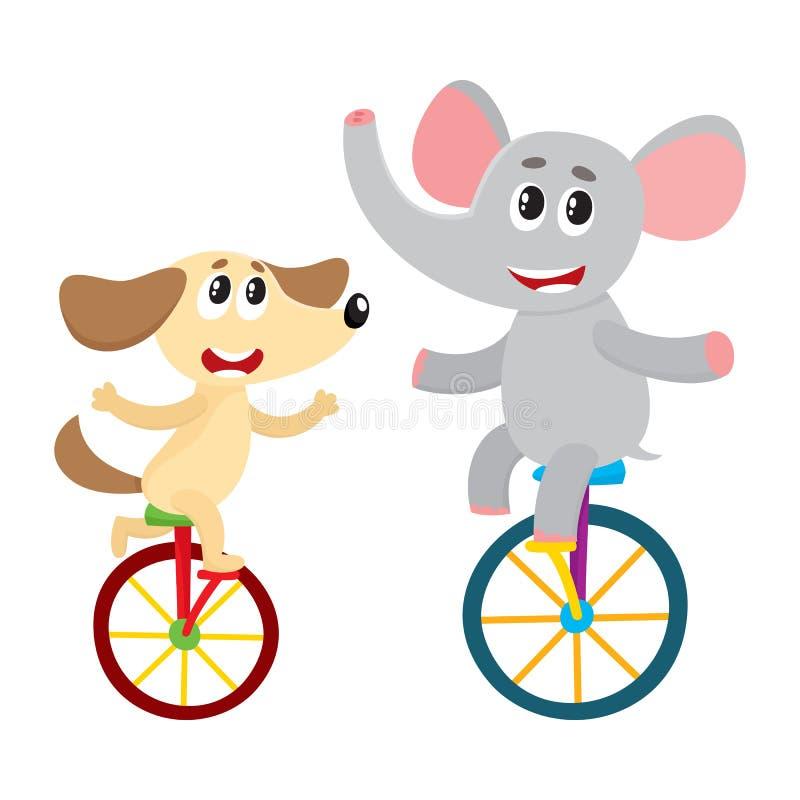 Piccolo caratteri svegli del cane, del cucciolo e dell'elefante che guidano le biciclette, monocicli illustrazione vettoriale