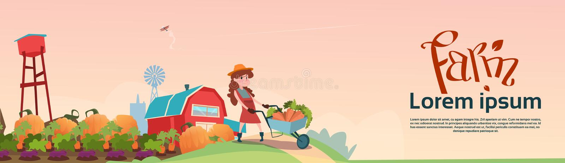 Piccolo carrello della tenuta della figlia degli agricoltori della ragazza con il raccolto delle verdure illustrazione vettoriale