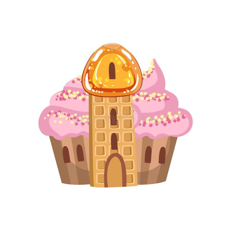Piccolo castello del bigné con l'elemento dolce crema del paesaggio della terra di Candy di fantasia della torre della cialda e d illustrazione vettoriale