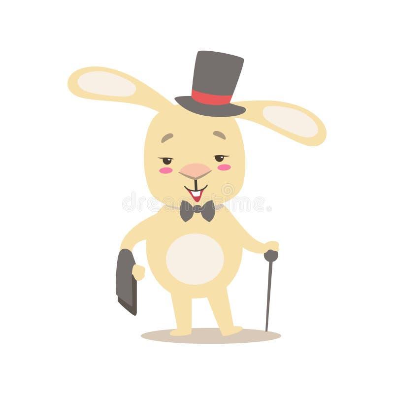 Piccolo cilindro bianco sveglio Girly di Bunny In Gentleman Costume With dell'animale domestico, illustrazione di situazione di v royalty illustrazione gratis