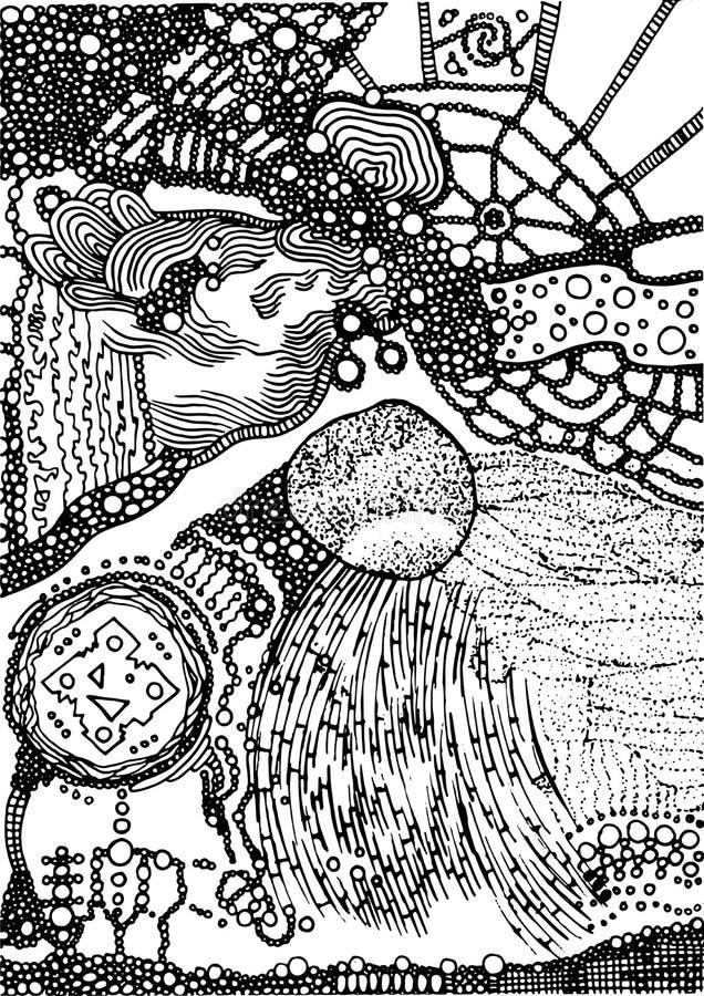 Piccolo circondano e la struttura degli anelli Arte astratta psichedelica del fondo di scarabocchio dell'inchiostro Reticolo mono illustrazione di stock