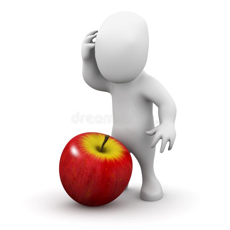 piccolo colpo dell'uomo 3d sulla testa da una mela illustrazione di stock