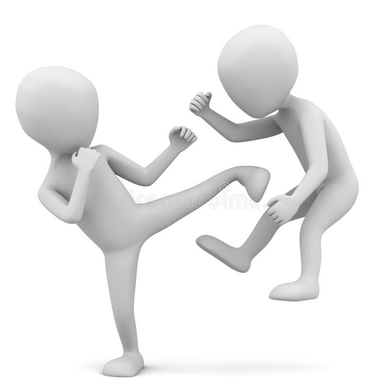 piccolo combattimento della gente 3d. royalty illustrazione gratis