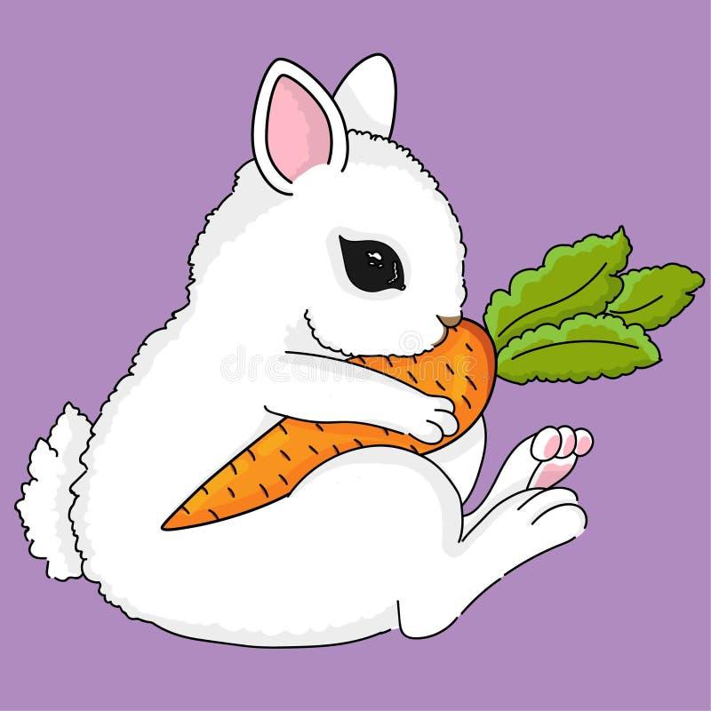 Piccolo coniglietto sveglio con la carota royalty illustrazione gratis