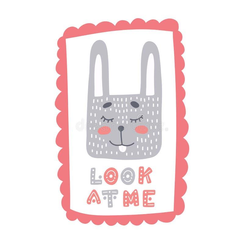 Piccolo coniglio sveglio nel telaio dolce con lo sguardo disegnato a mano dell'iscrizione me illustrazione di stock
