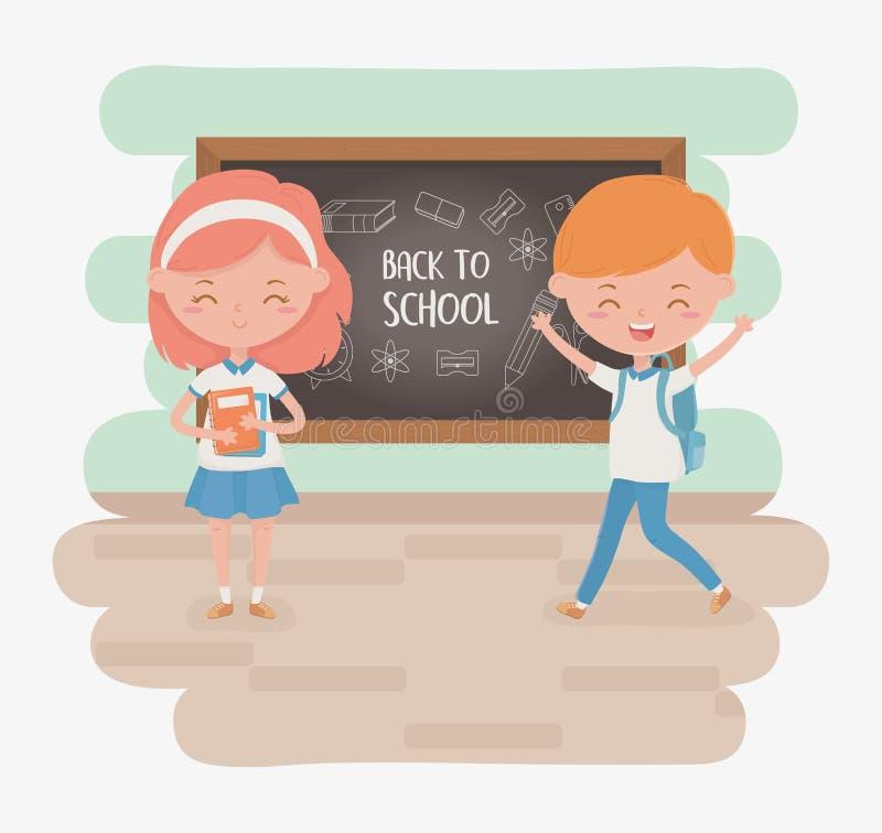 Piccolo coppie degli studenti con i rifornimenti di scuola e della lavagna illustrazione vettoriale
