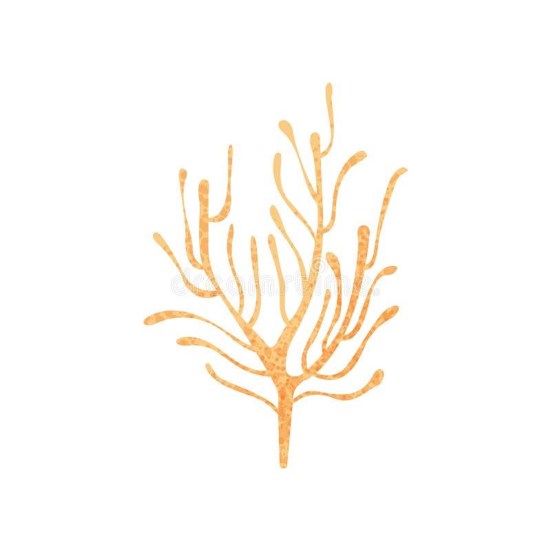 Piccolo corallo di ramificazione Pianta dell'oceano Natura e fauna marina Vita di mare Illustrazione piana di vettore con struttu illustrazione di stock
