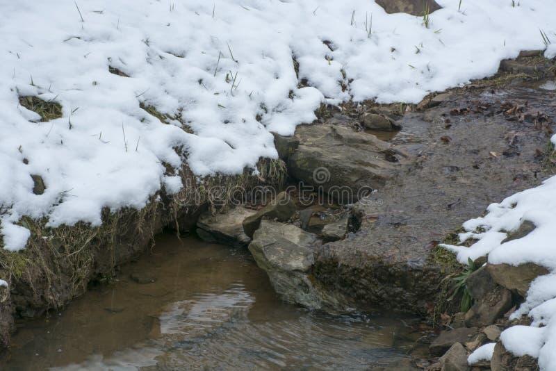 Piccolo corso d'acqua dopo neve leggera immagine stock