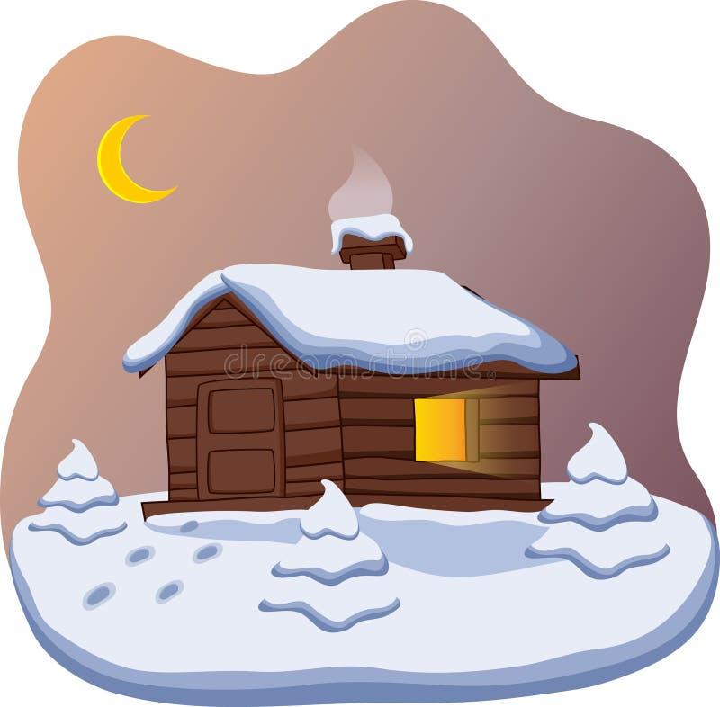 Piccolo cottage sveglio con un albero di Natale illustrazione di stock