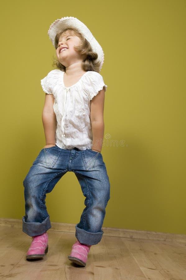 Piccolo cowgirl divertente fotografia stock