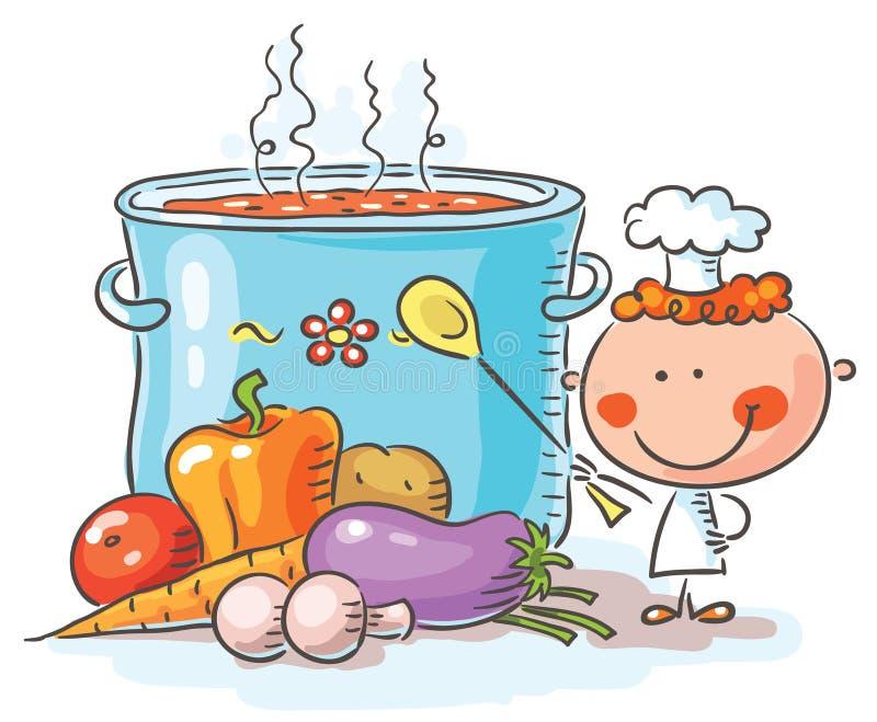 Piccolo cuoco unico con un vaso d'ebollizione gigante illustrazione di stock