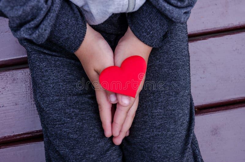 Piccolo, cuore rosso sulle mani dei bambini, vista superiore Un bambino si siede su un banco con un cuore in sue mani fotografia stock