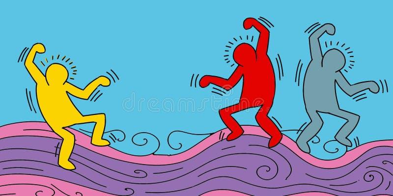 piccolo dancing stilizzato dell'uomo e celebrare, insegna illustrazione vettoriale