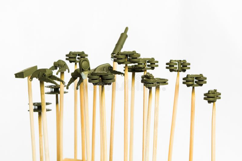 Piccolo dettaglio di plastica per il modello di scala pronto per airbrushing fotografia stock