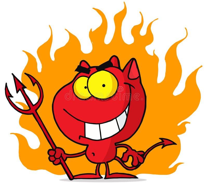 Piccolo diavolo con il pitchfork in fiamme illustrazione vettoriale