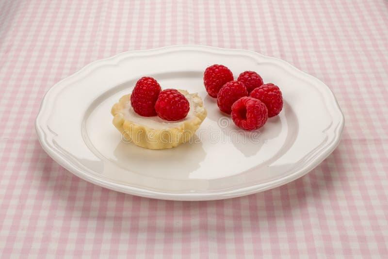 Piccolo dolce casalingo con formaggio cremoso ed i lamponi freschi in w fotografia stock libera da diritti