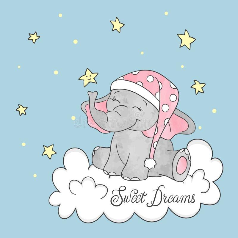 Piccolo elefante sveglio sulla nuvola Vettore di sogni dolci illustrazione vettoriale