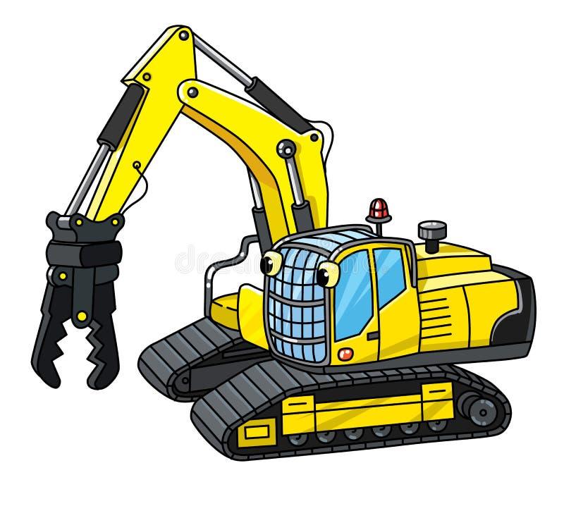 Piccolo escavatore divertente con gli occhi Libro di coloritura illustrazione di stock