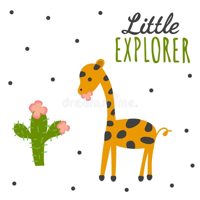 Piccolo esploratore - manifesto disegnato a mano della scuola materna illustrazione vettoriale