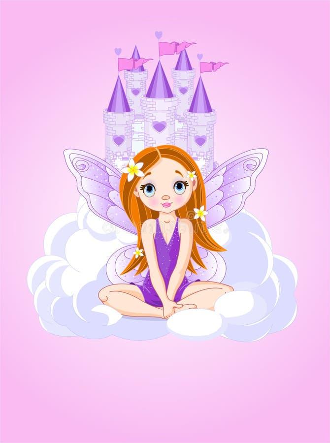 Piccolo fairy sveglio e un castello illustrazione vettoriale