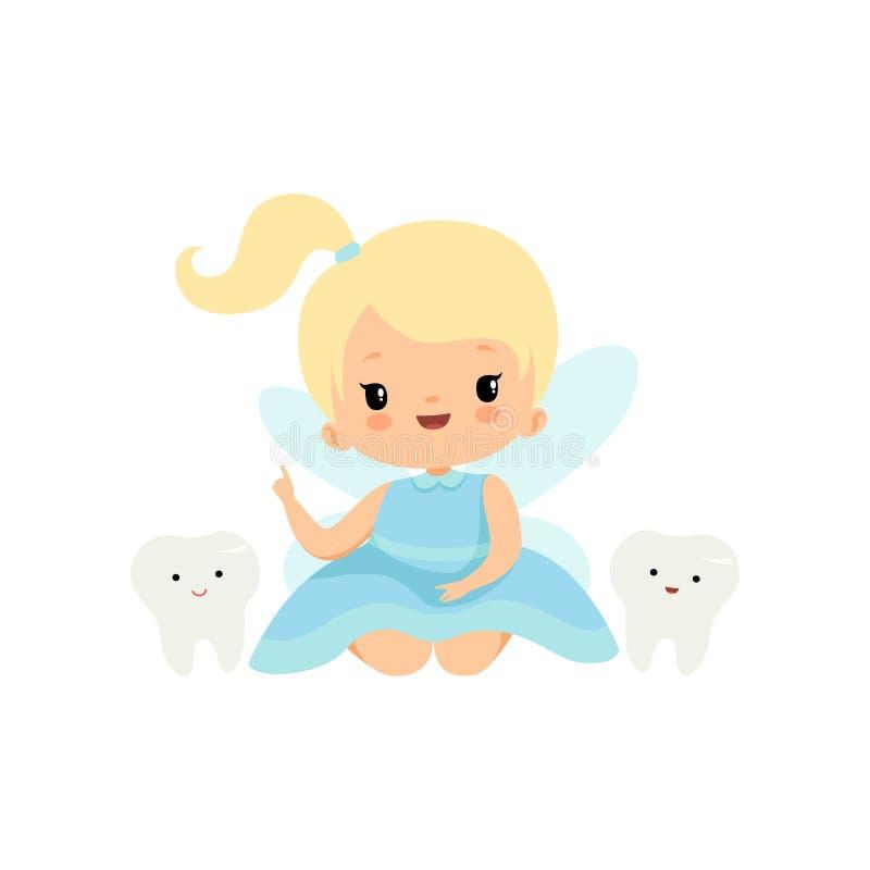 Piccolo fatato di dente sveglio con i denti da latte, personaggio dei cartoni animati leggiadramente biondo adorabile della ragaz royalty illustrazione gratis