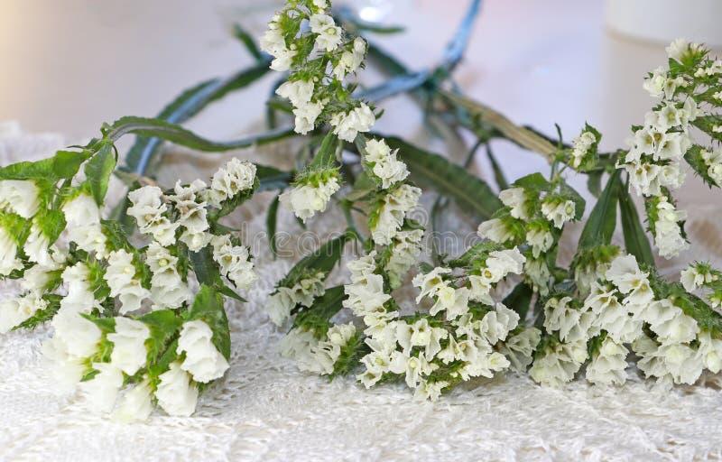 Piccolo fiori bianchi su un tovagliolo tricottato fotografie stock