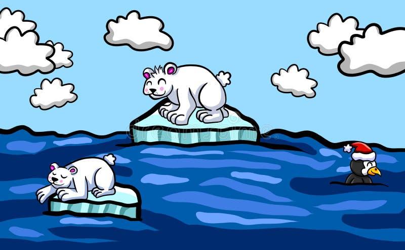 Piccolo fondo di fusione degli iceberg di ghiaccio illustrazione vettoriale