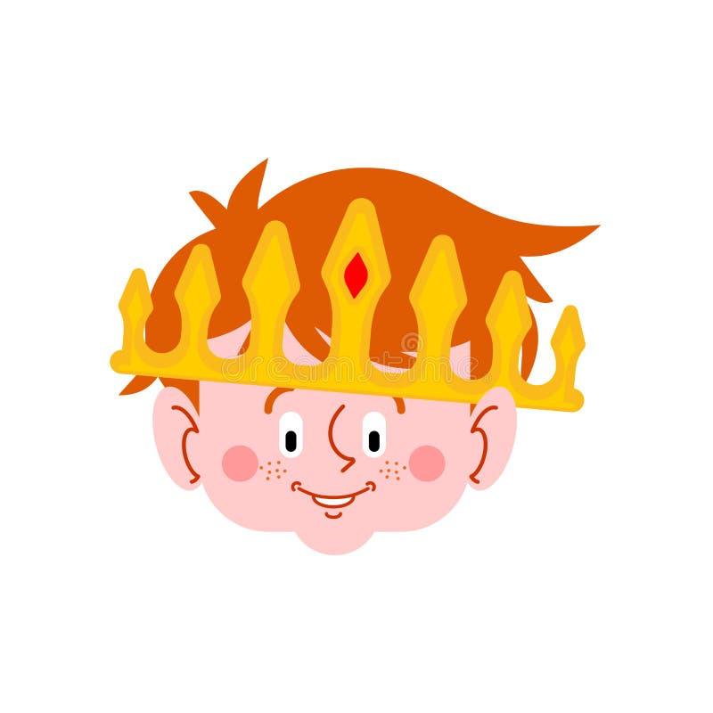 Piccolo fronte di principe Ragazzo in grande corona Figlio reale Illust di vettore royalty illustrazione gratis