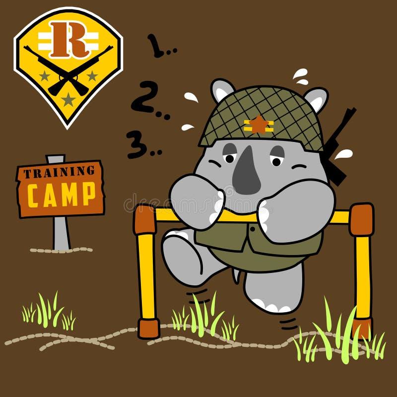 Piccolo fumetto divertente del soldato nel campo di addestramento illustrazione di stock
