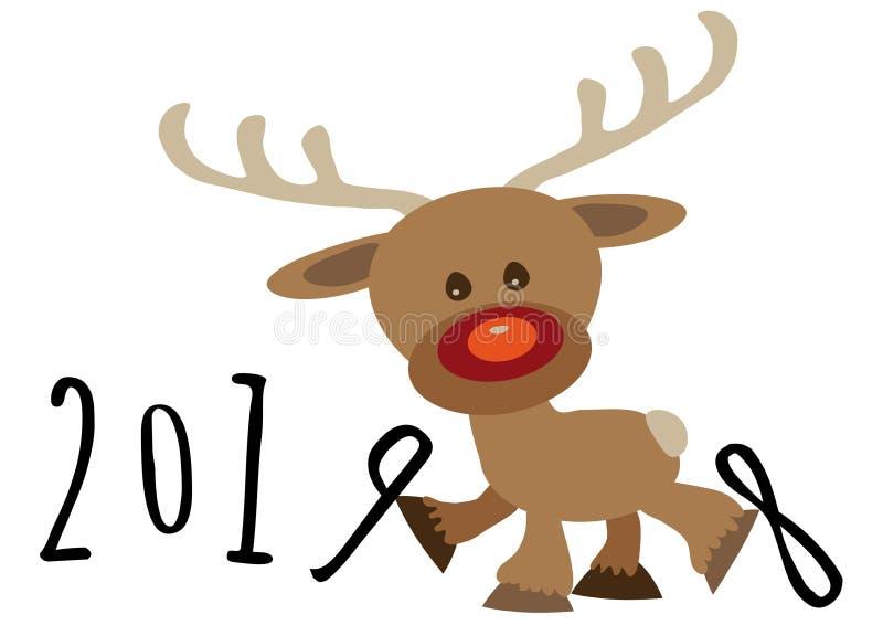 Piccolo fumetto divertente numero sostenente nove del bambino della renna fra anno ed il numero numerici otto di respinta illustrazione di stock