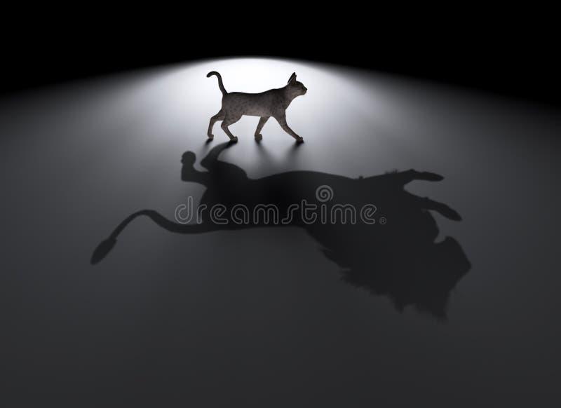 Piccolo gatto con un grande sogno illustrazione di stock