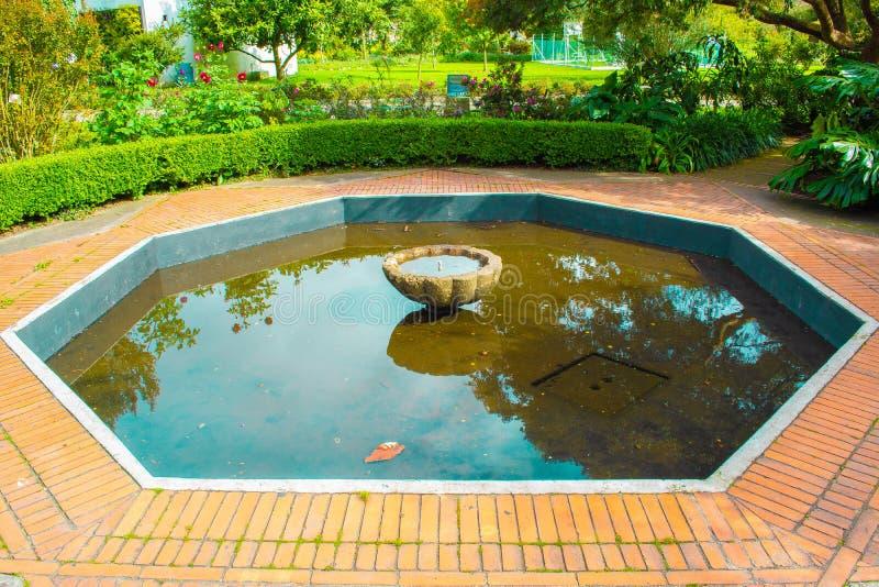 Piccolo giardino con una fontana nel mezzo fotografia stock libera da diritti