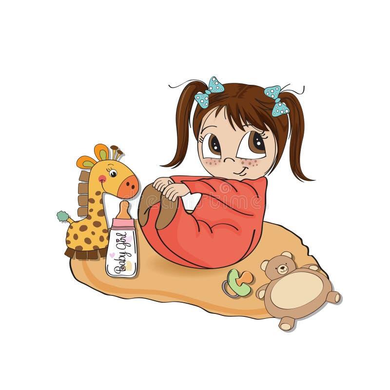 Piccolo gioco della neonata con il suo giocattolo royalty illustrazione gratis