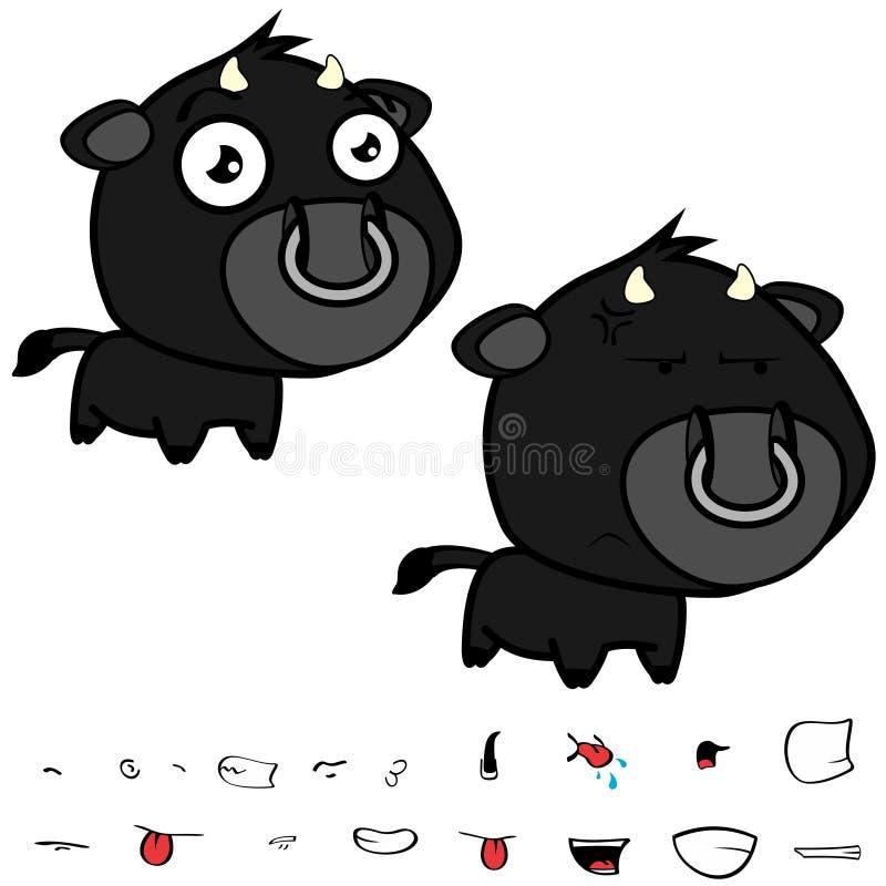 Piccolo grandi espressioni nere cape del toro fissate illustrazione vettoriale