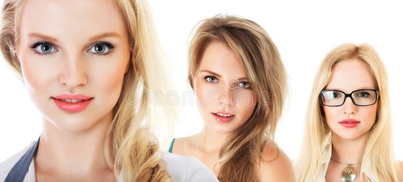 Piccolo gruppo di collage delle giovani donne immagini stock