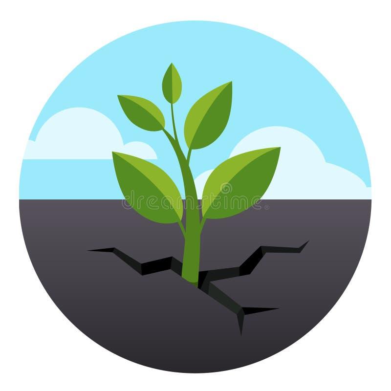 Piccolo il germoglio verde si sviluppa attraverso la terra dell'asfalto illustrazione di stock