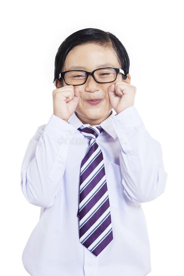 Piccolo imprenditore sveglio che grida - isolato fotografia stock