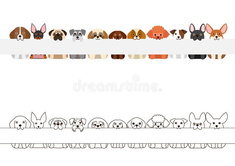 Piccolo insieme del confine dei cani, con il bordo in bianco lungo nei loro mouthes royalty illustrazione gratis