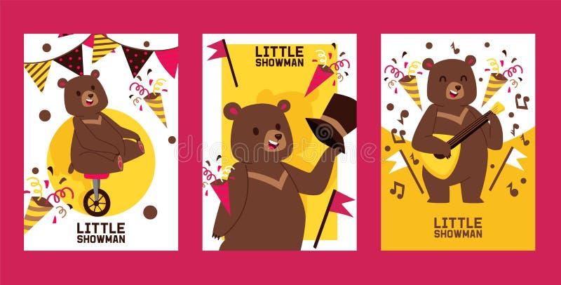 Piccolo insieme delle insegne, illustrazione dello showman dell'orso di vettore dei manifesti Prestazione del circo Monociclo fel royalty illustrazione gratis