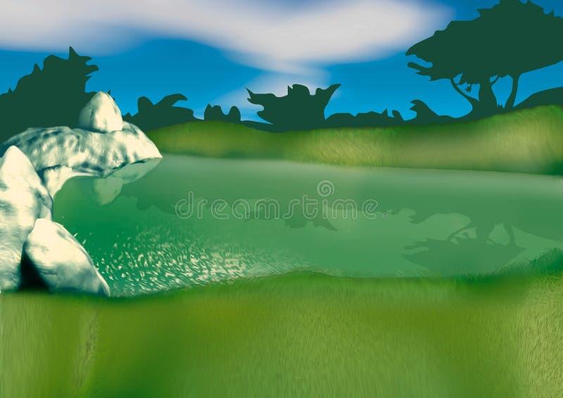 Piccolo lago illustrazione di stock
