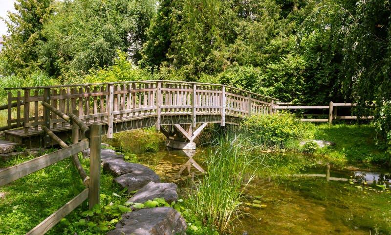 Piccolo lago artificiale, ponte di legno 5 immagine stock libera da diritti