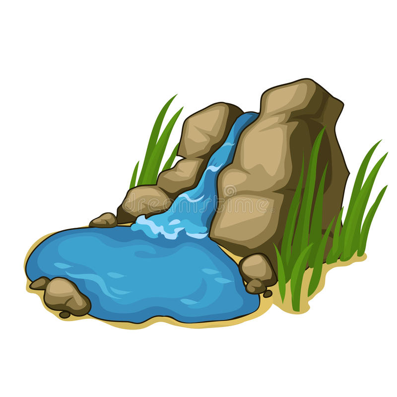 Piccolo lago con una bella cascata Vettore illustrazione vettoriale