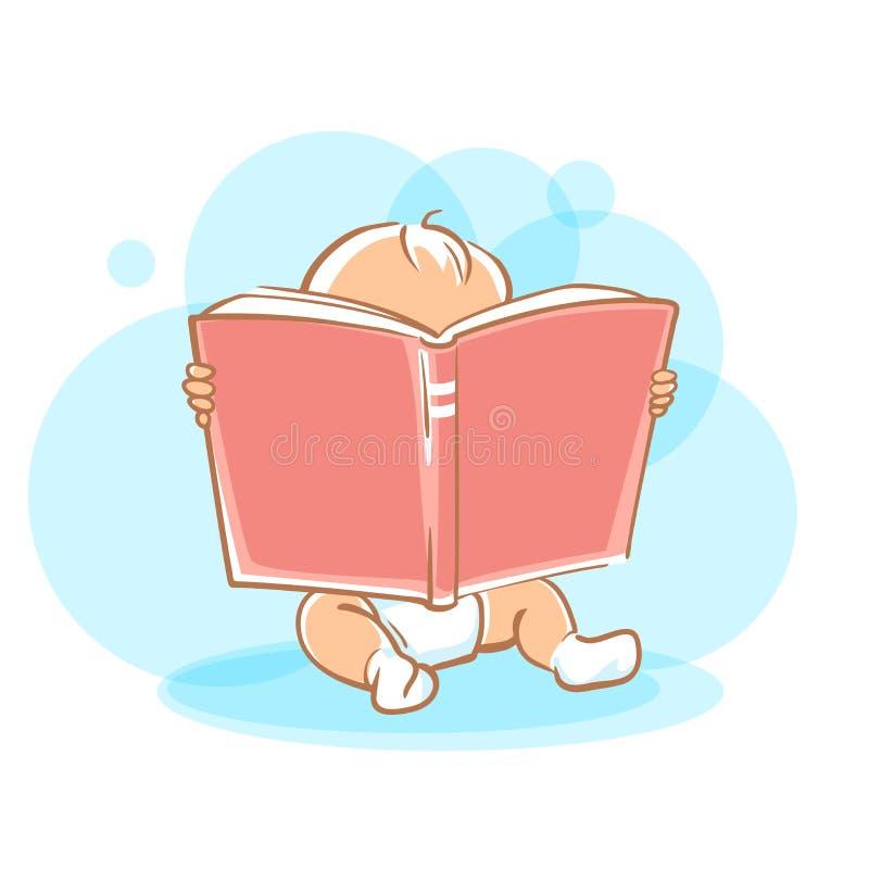 Piccolo libro di lettura sveglio del bambino illustrazione vettoriale
