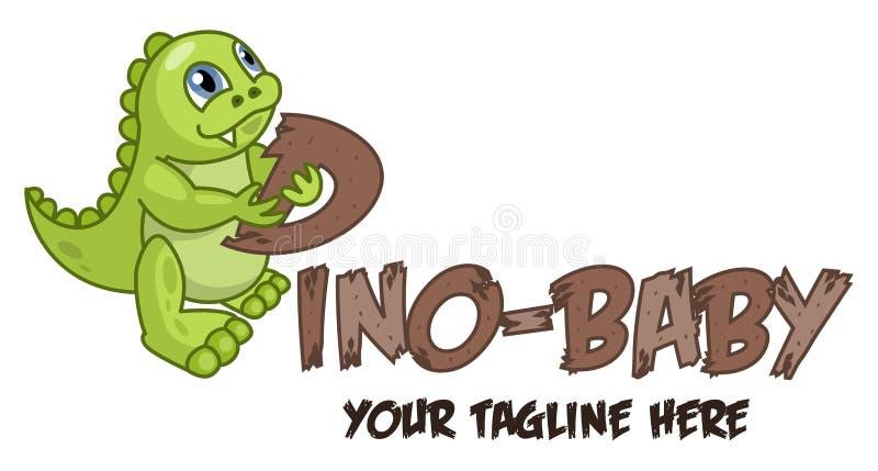 Piccolo logo sveglio del bambino del dinosauro Il concetto per la progettazione del partito di Dino, festa dei bambini, dinosauru illustrazione di stock