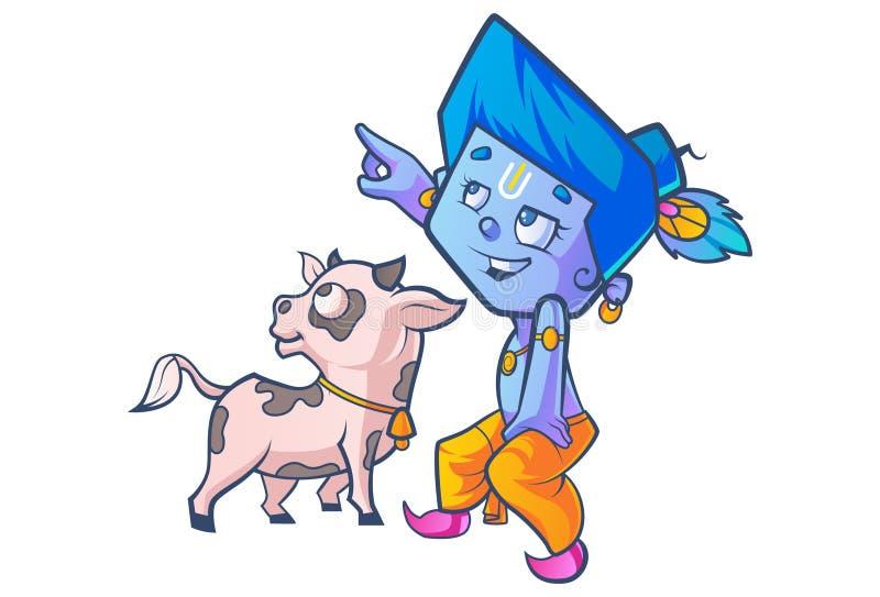 Piccolo Lord Krishna sveglio illustrazione di stock