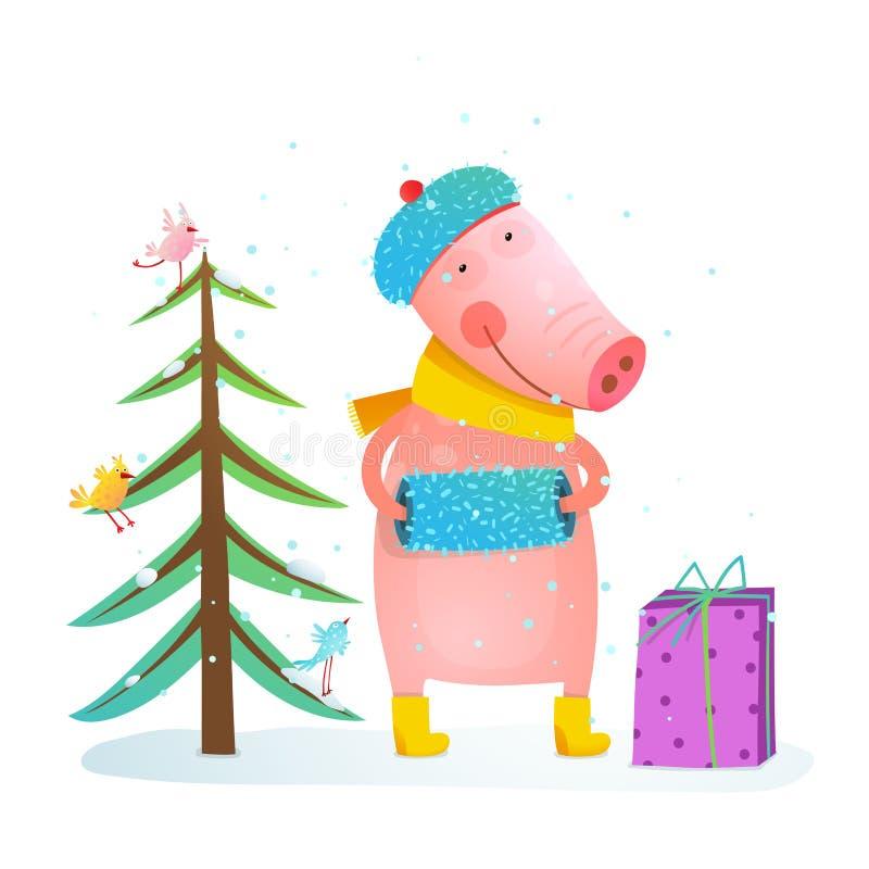 Piccolo maiale allegro puerile in vestiti caldi di inverno con l'albero e gli uccelli della pelliccia illustrazione vettoriale
