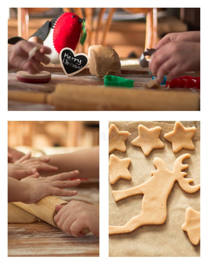 Piccolo mani che fanno i busicuits di Natale fotografia stock